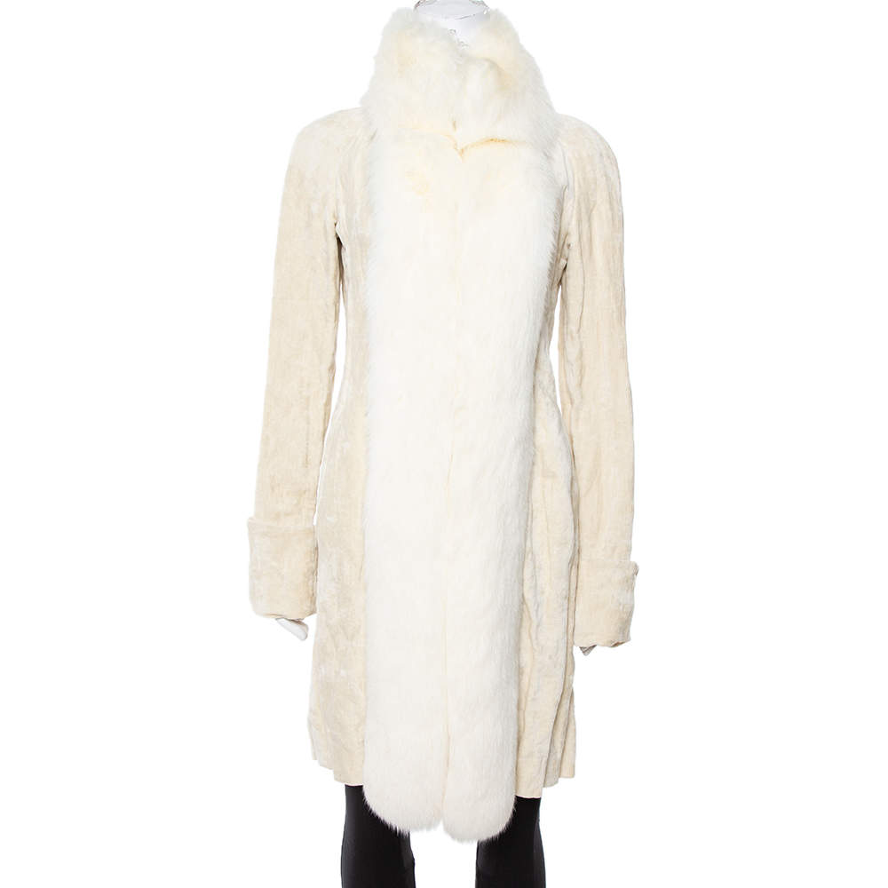 Celine Cream Velvet Fox Fur Lined Coat M