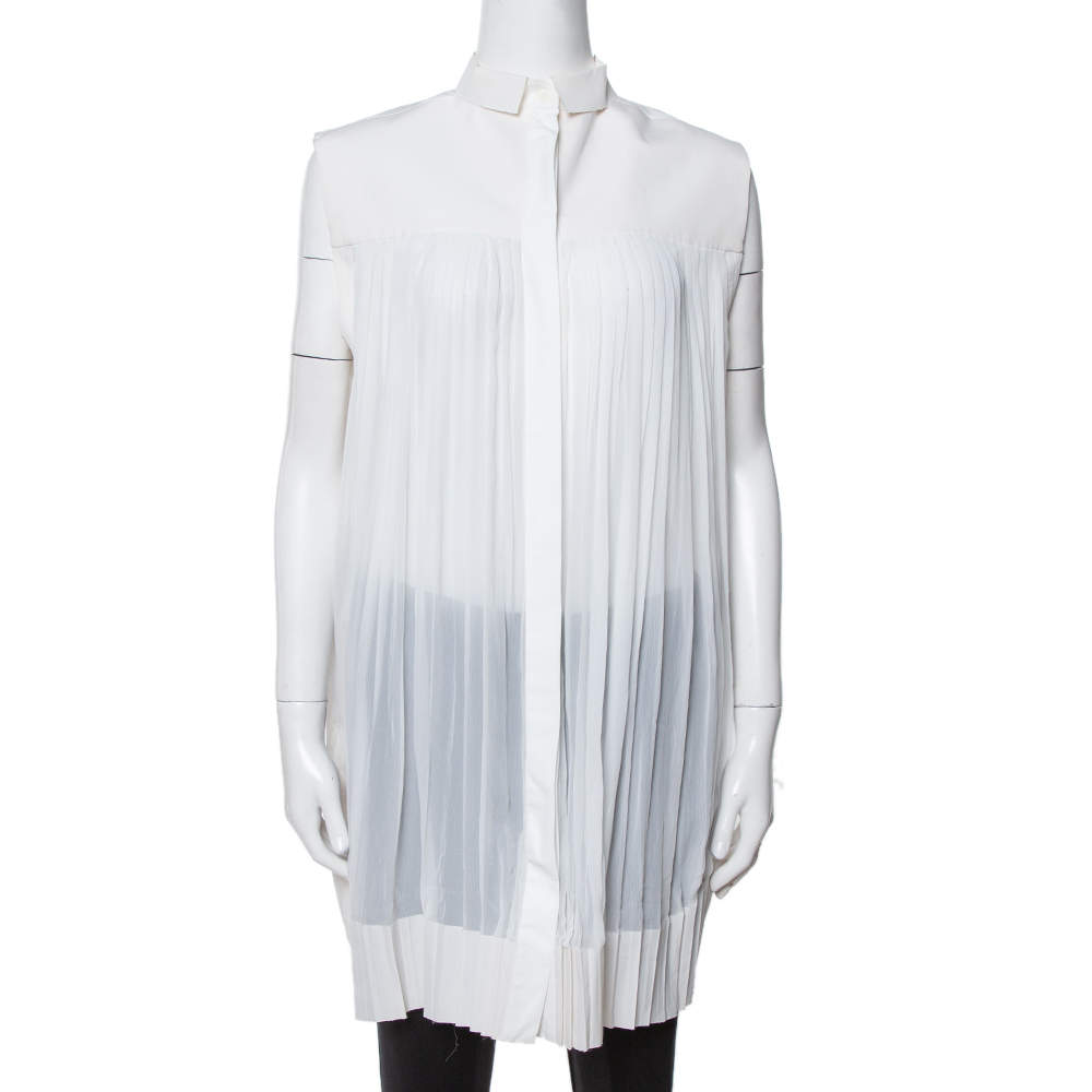 Celine Off White Cotton Pleated High Low Hem Blouse M