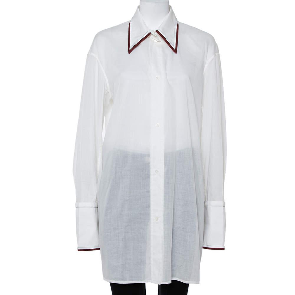 Celine White Cotton Contrast Trim Detail Button Front Phoebe Philo Long Shirt M