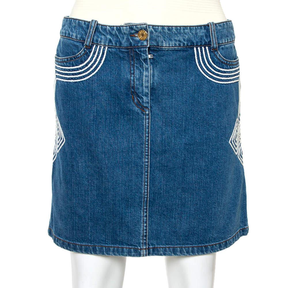 Celine Blue Denim Embroidered Mini Skirt S