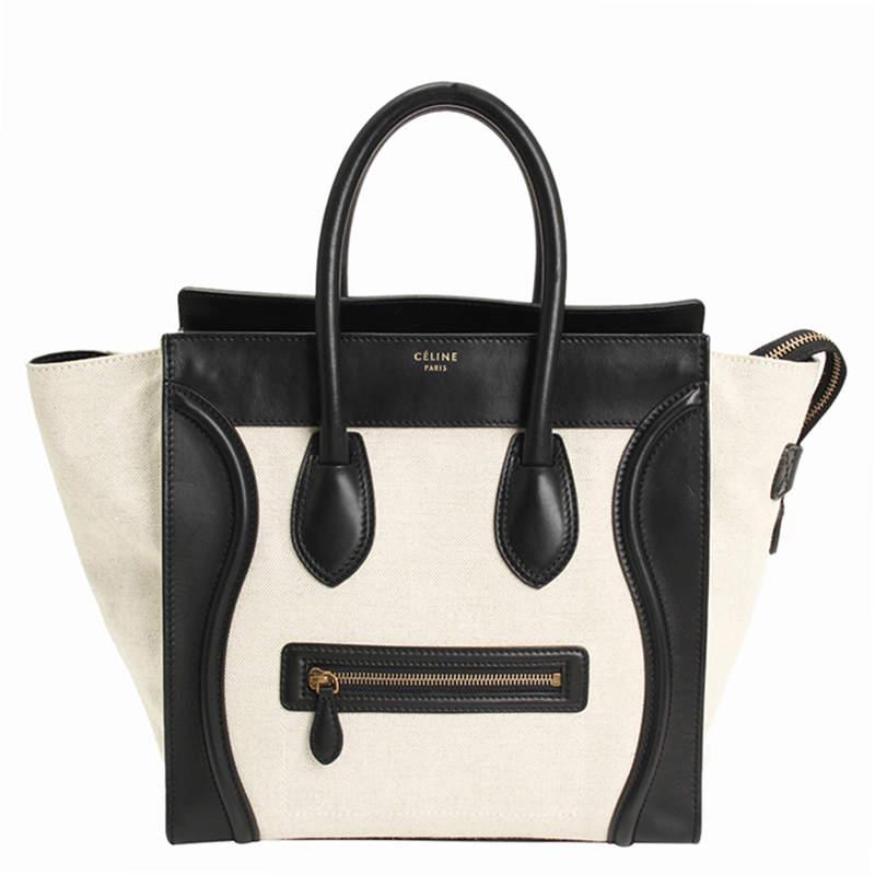 Celine Cream/Black Canvas and Leather Mini Luggage Tote