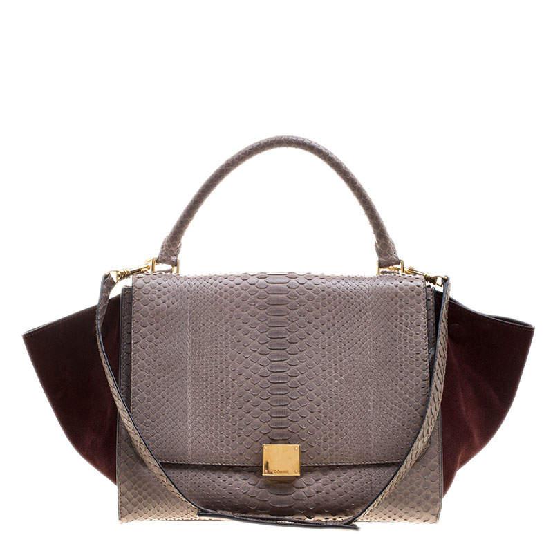 Celine Grey/Burgundy Python and Suede Medium Trapeze Top Handle Bag
