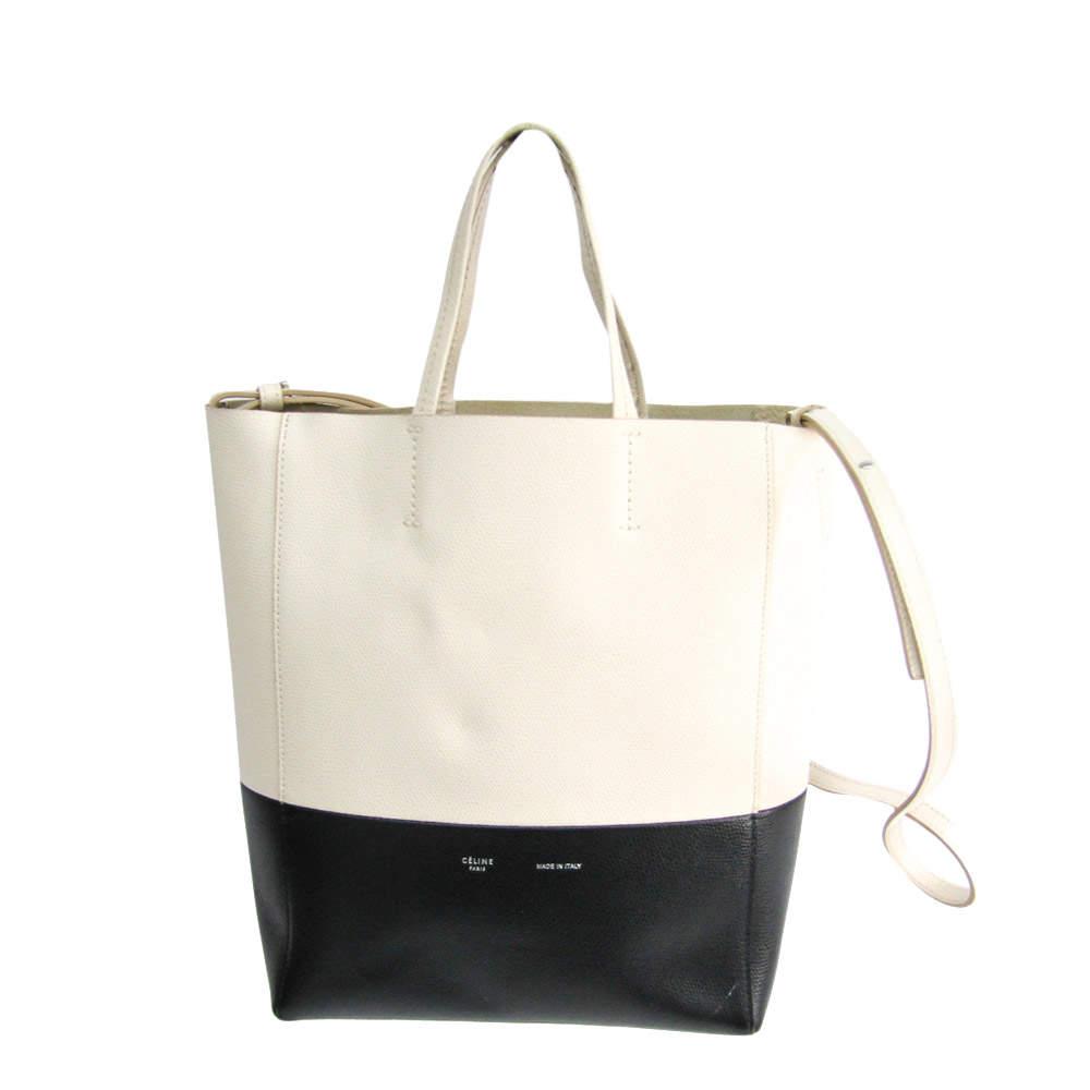 Celine Black/Cream Leather Cabas Tote