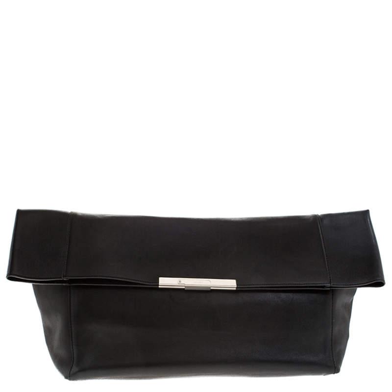 Celine Black Leather Cabas Fold-Over Clutch
