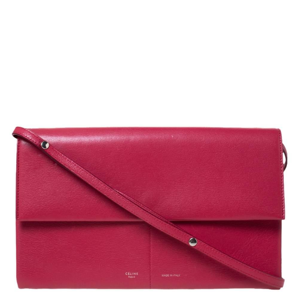 Celine Red Leather Folded Clutch Bag