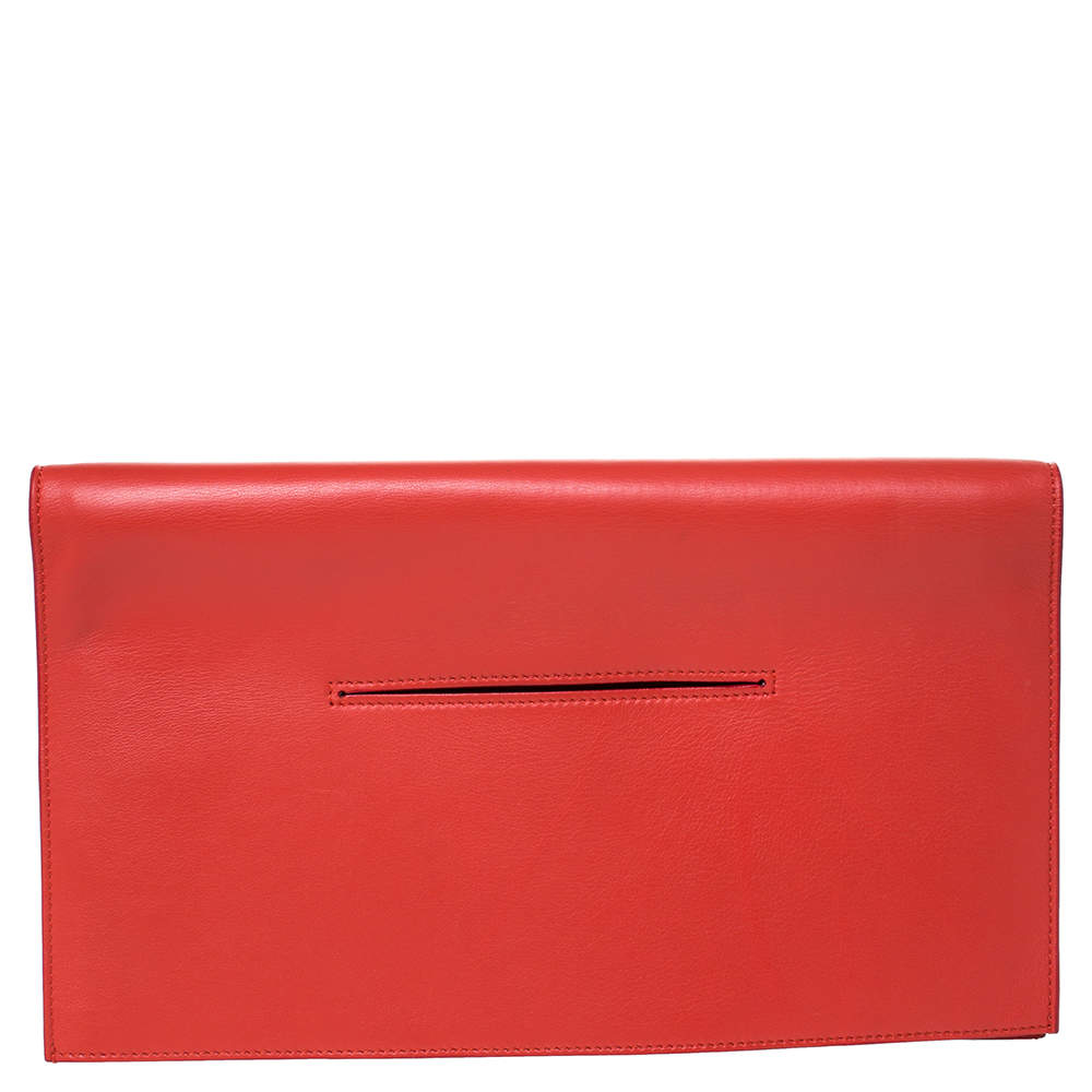 Celine Orange Leather Foldover Slim Clutch