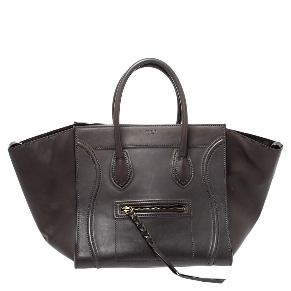 Celine Grey Leather Medium Phantom Luggage Tote