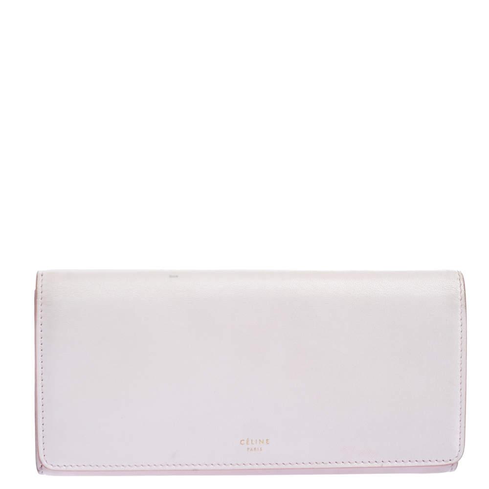 Celine Pink Leather Flap Continental Wallet