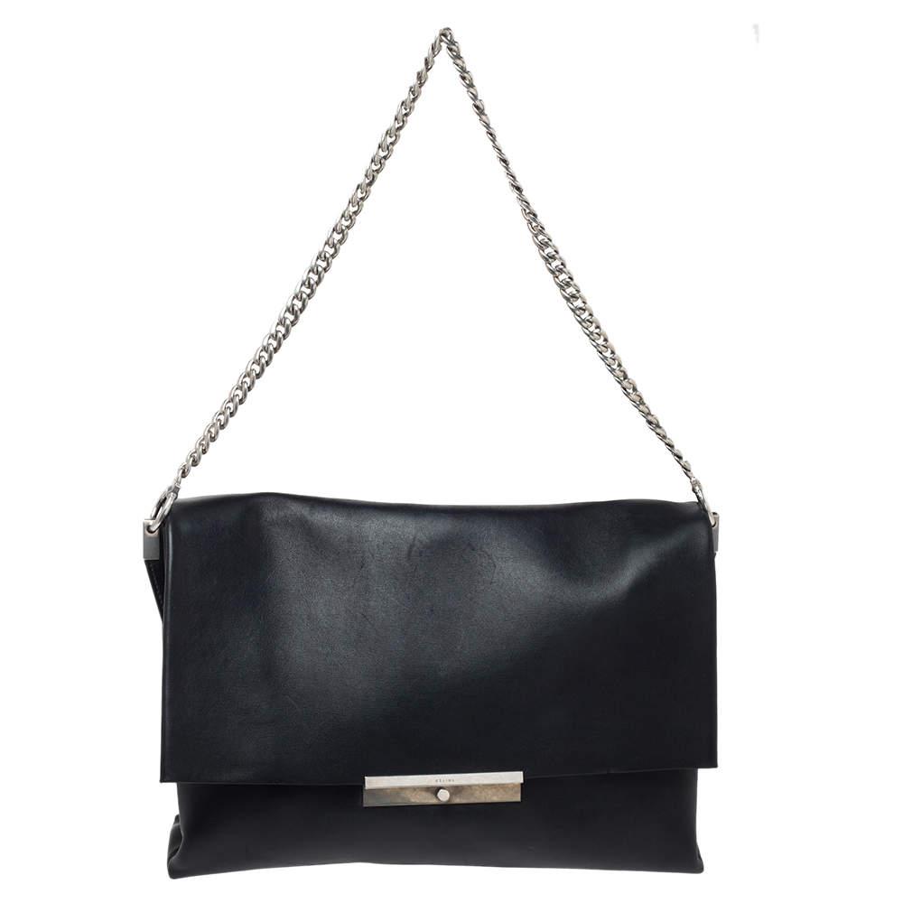 Celine Black Calfskin Leather Blade Flap Bag