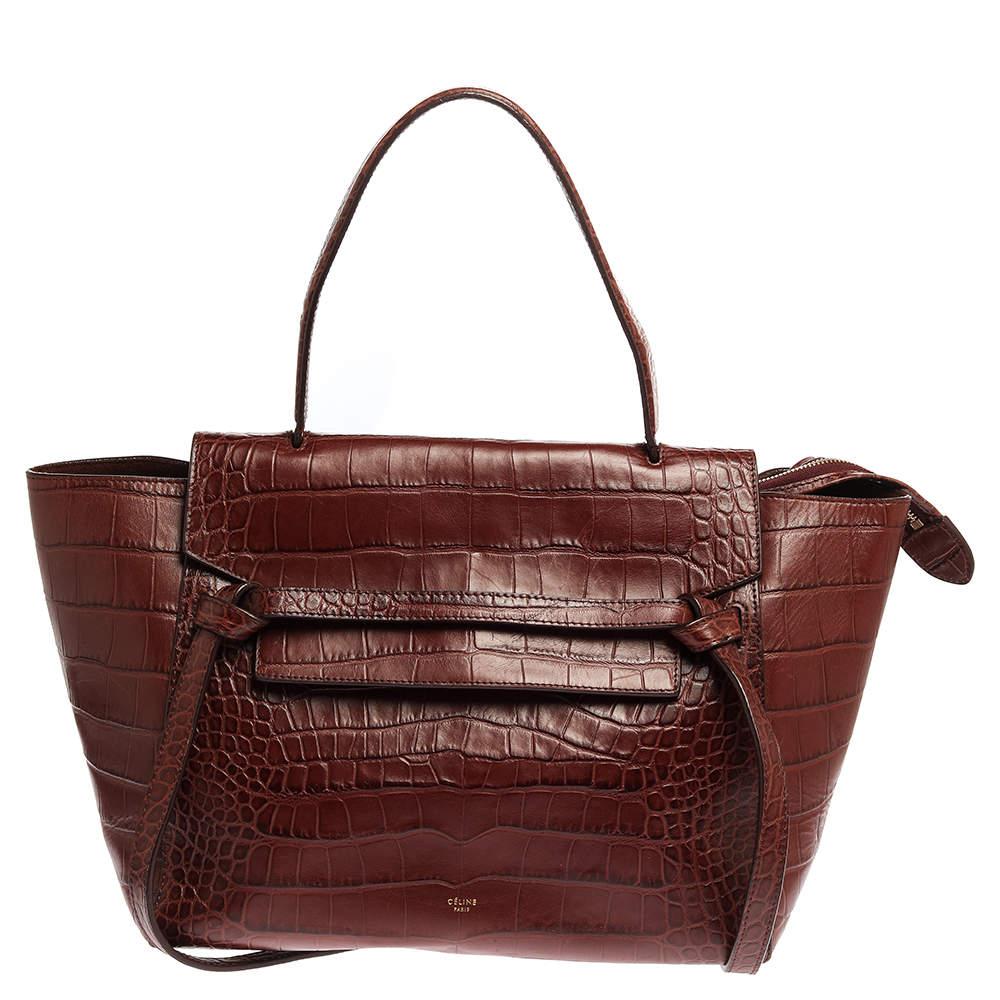 Celine Brown Croc Embossed Leather Mini Belt Top Handle Bag
