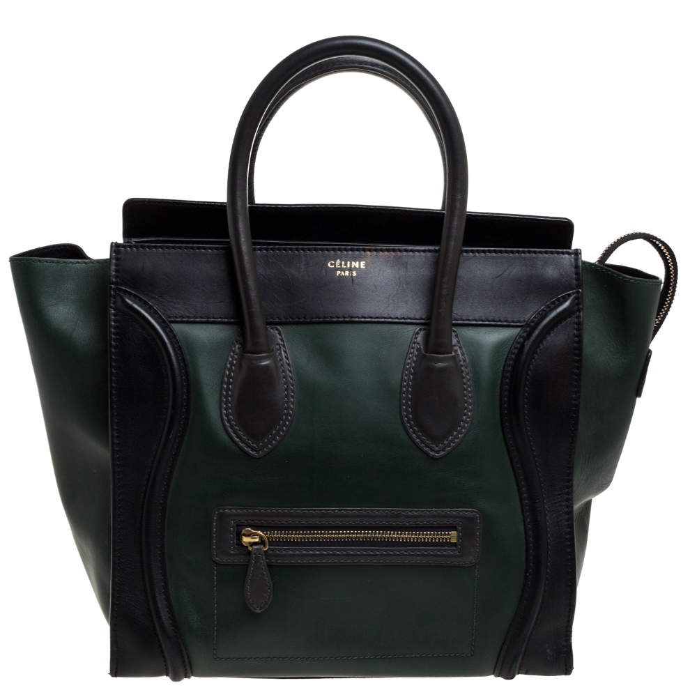 Celine Black/Dark Green Leather Mini Luggage Tote