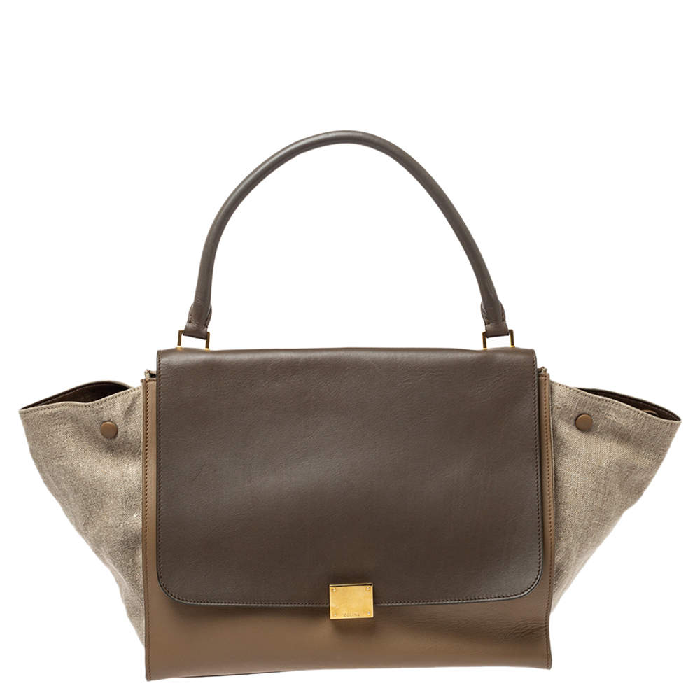 Celine Tricolor Leather and Canvas Large Trapeze Top Handle Bag