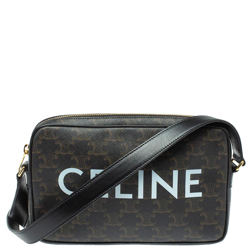 Celine Black Triomphe Coated Canvas Medium Messenger Bag