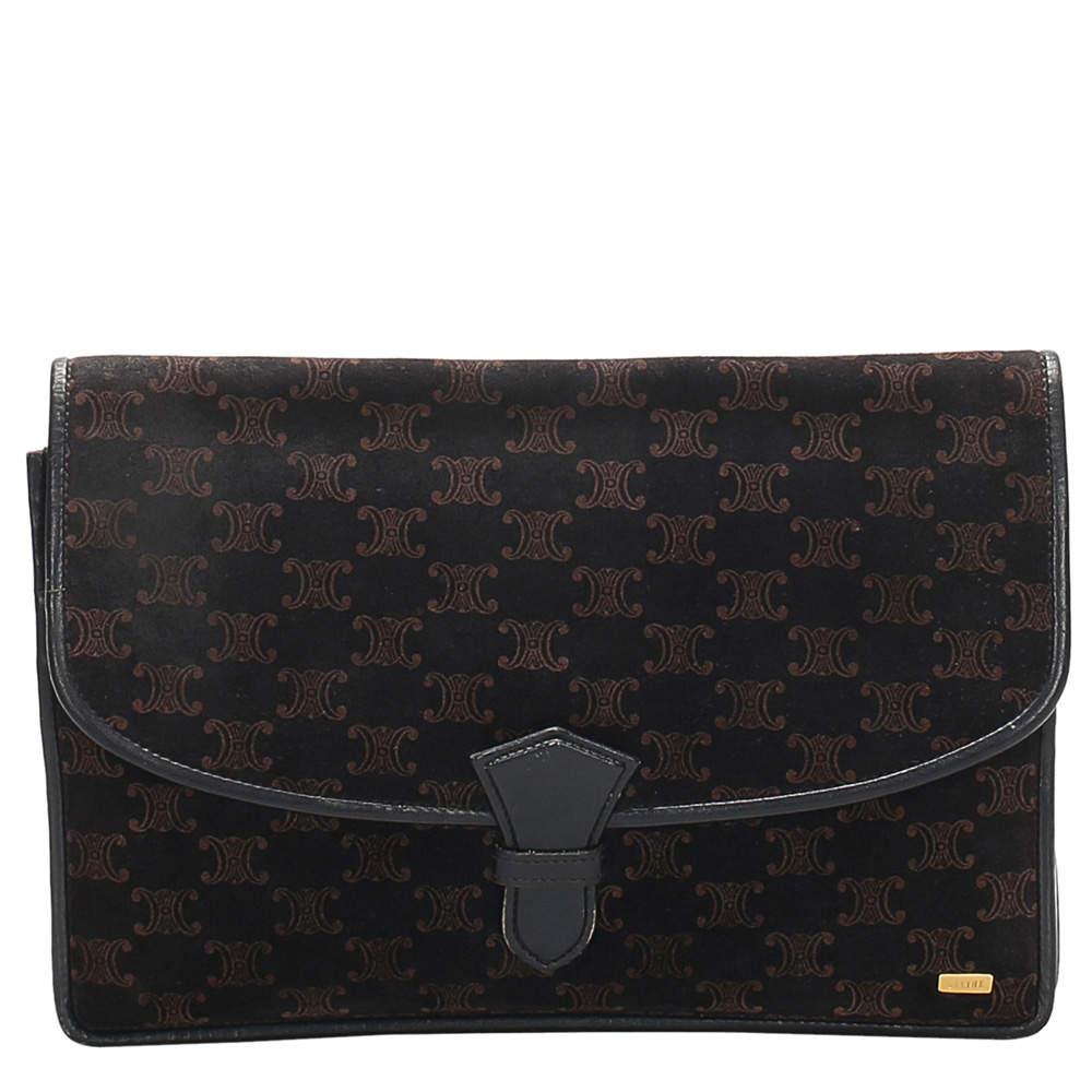 Celine Brown/Dark Brown Macadam Suede Clutch Bag
