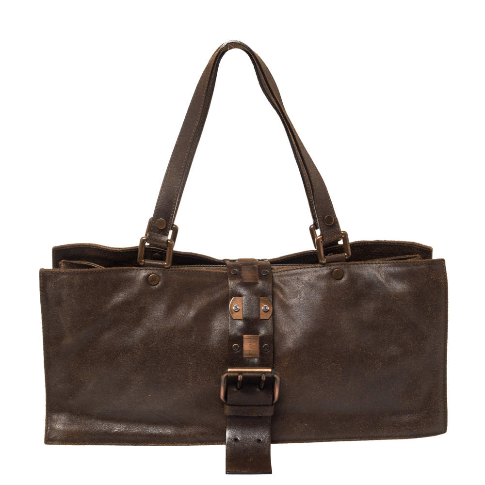 Celine Dark Brown Nubuck Leather Buckle Flap Tote
