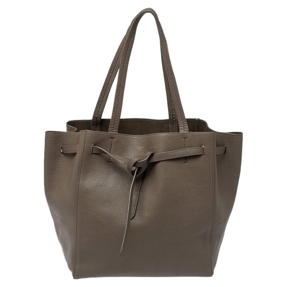 Celine Grey Leather Small Cabas Phantom Tote