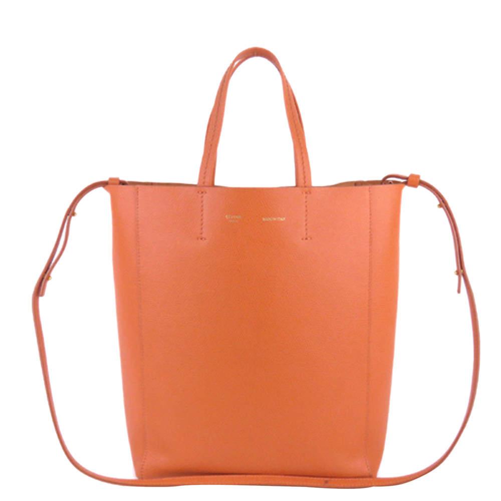 Celine Orange Leather Vertical Cabas Small Tote Bag