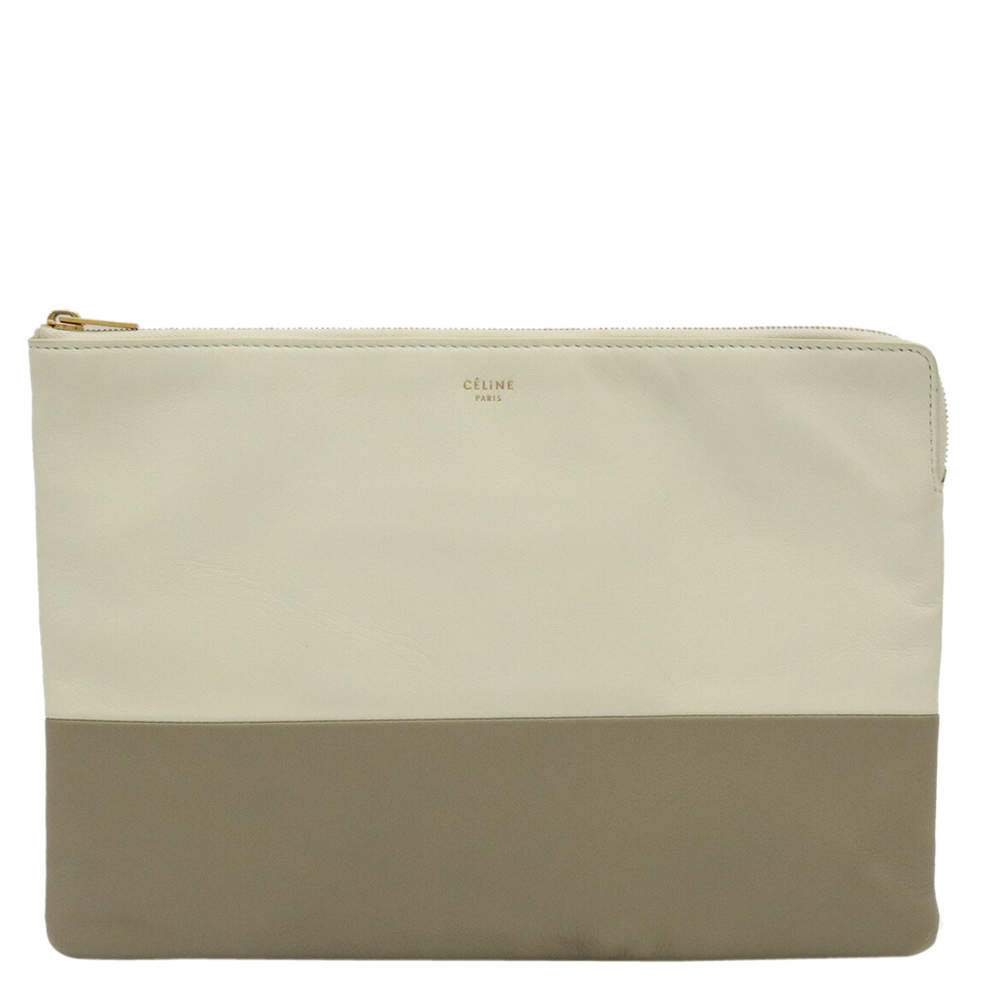 Celine Grey/Off White Leather Solo Clutch Bag