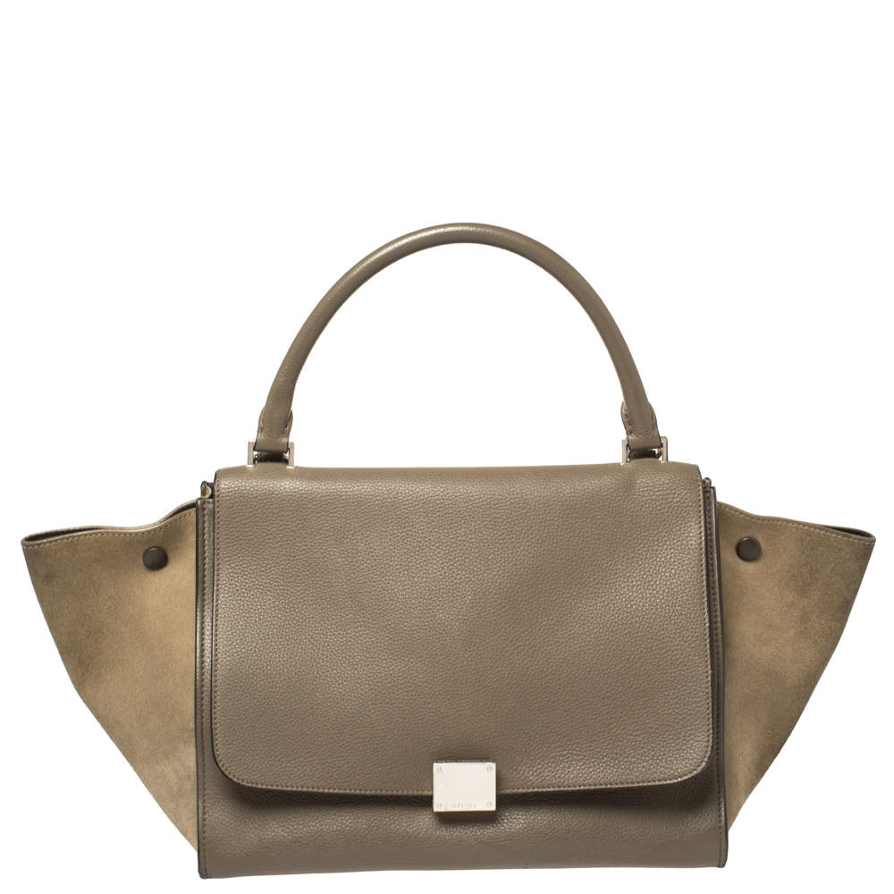 Celine Khaki Green Leather and Suede Medium Trapeze Bag