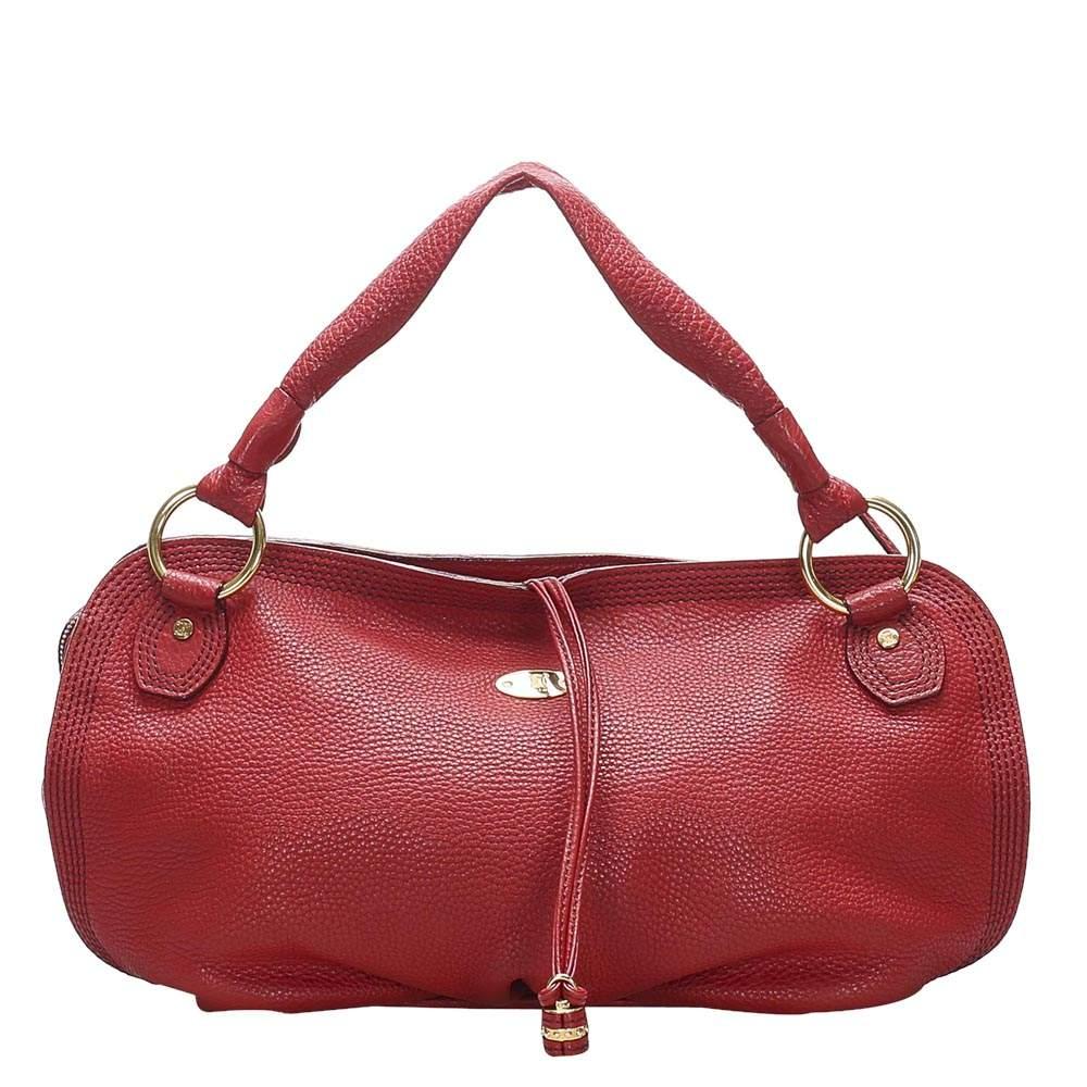 Celine Red Leather Shoulder Bag