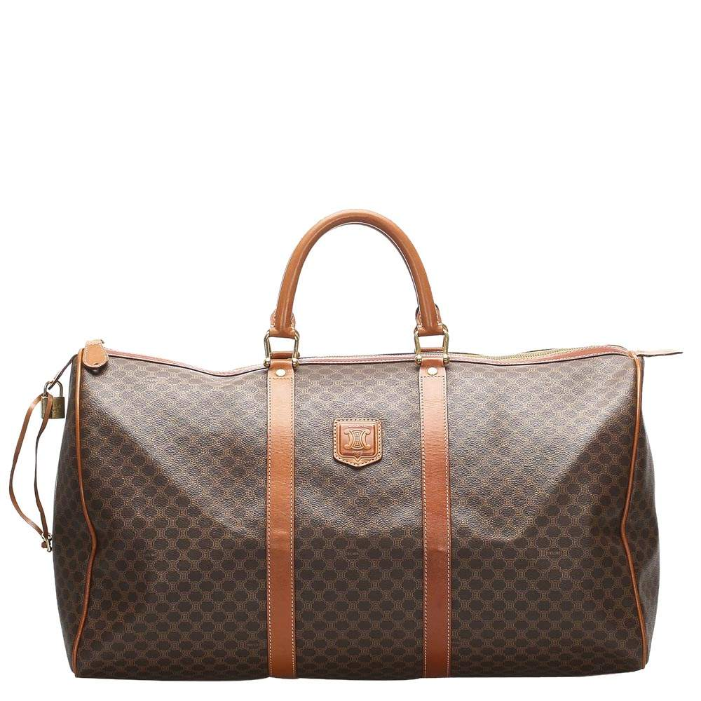 Celine Brown/Beige Macadam Coated Canvas Macadam Travel Bag