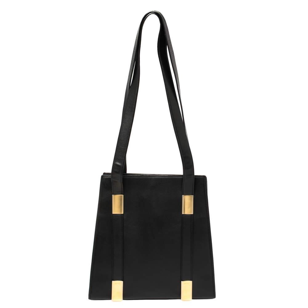 Celine Black Leather Vintage Tote