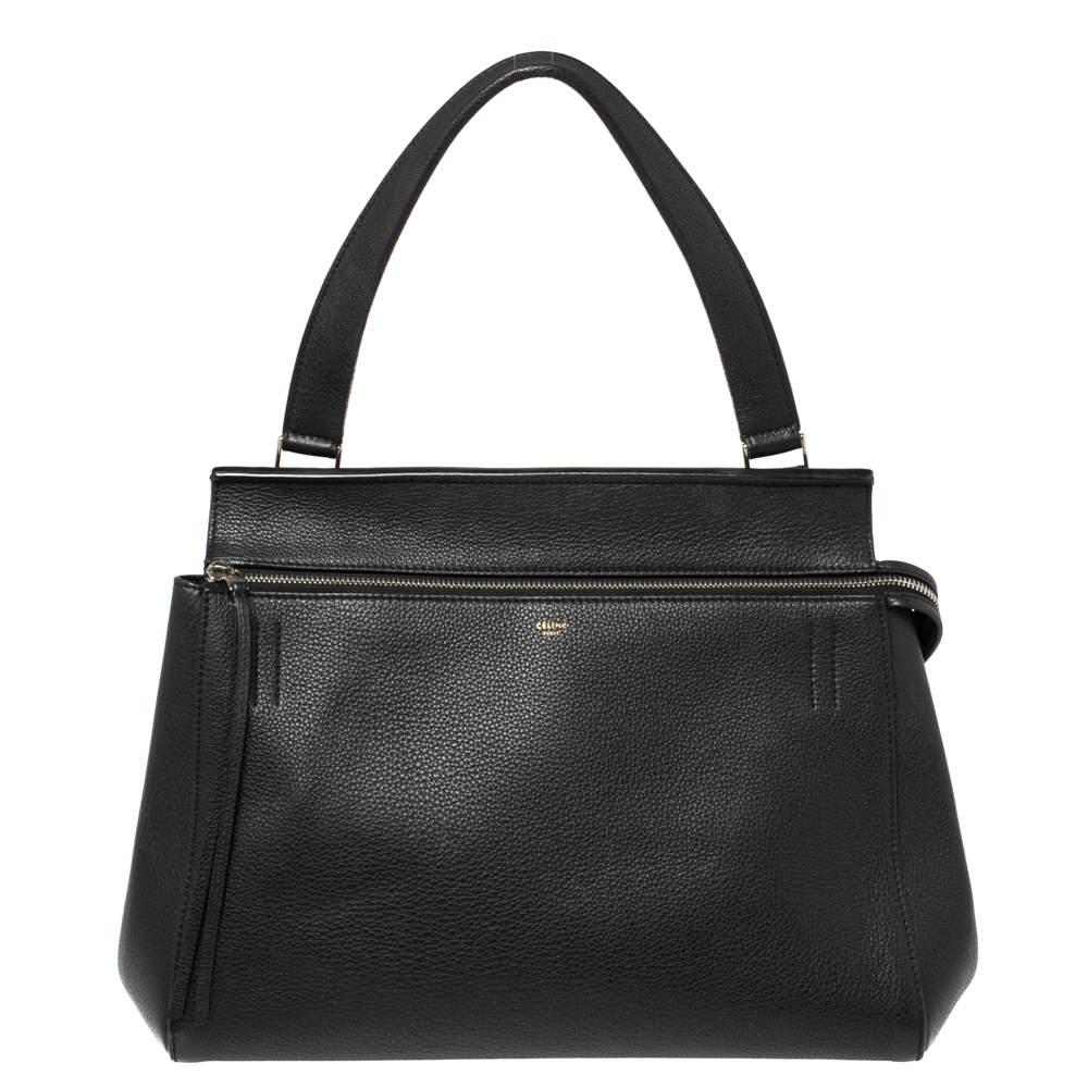 Celine Black Leather Medium Edge Top Handle Bag