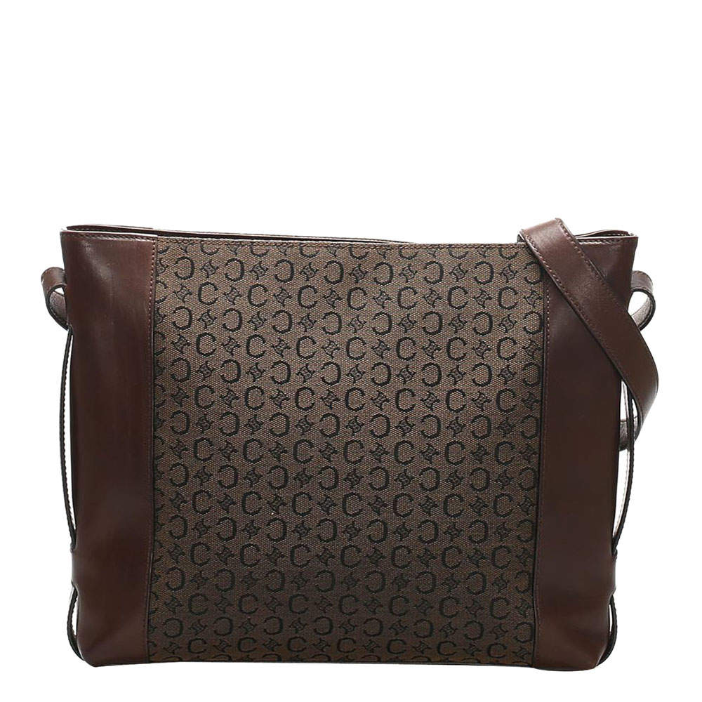 Celine Brown C Macadam Canvas Leather Shoulder Bag