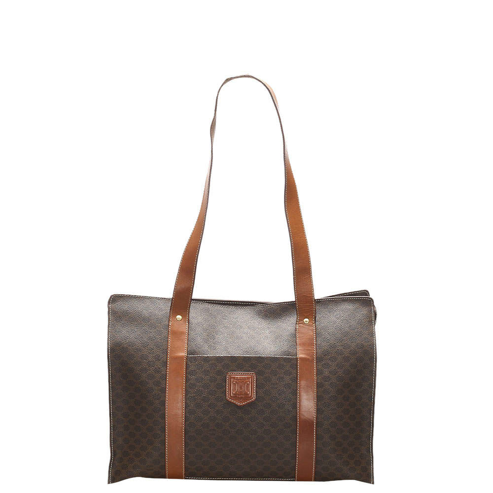 Celine Brown/Beige Coated Canvas  Macadam Tote Bag