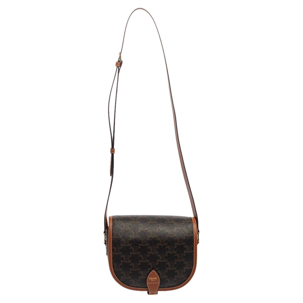 Celine Brown Macadam Coated Canvas and Leather Medium Folco Triomphe Crossbody Bag