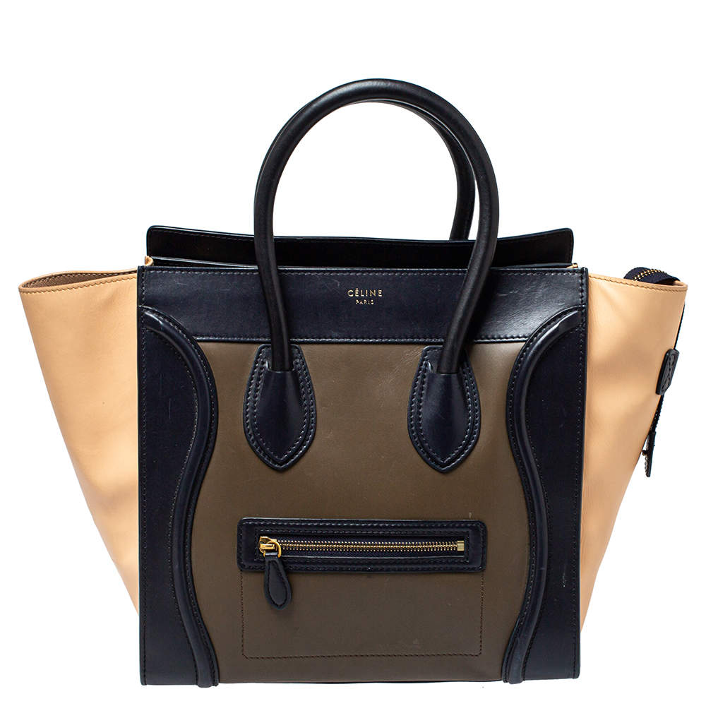 Celine Tri Color Leather Mini Luggage Tote