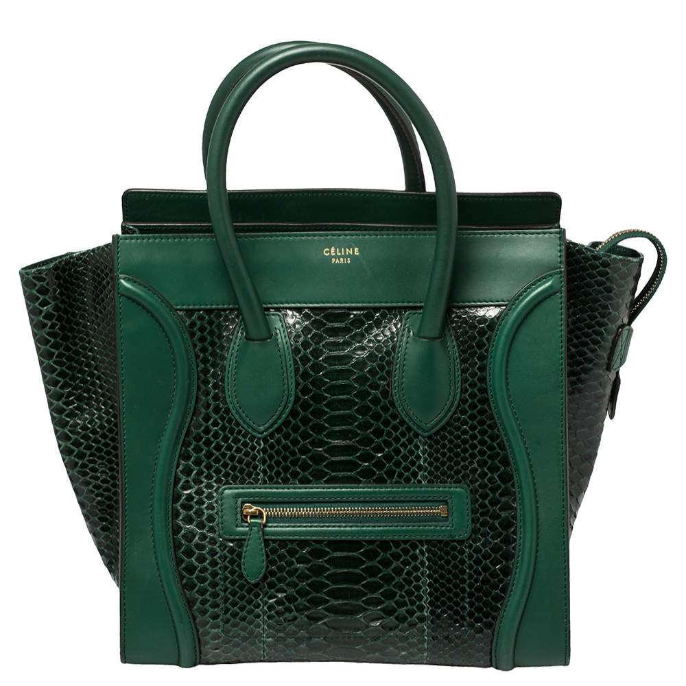 Celine Dark Green Python and Leather Mini Luggage Tote