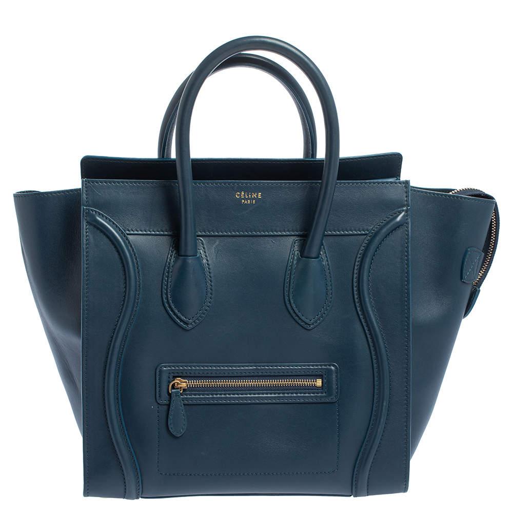 Celine Blue Leather Mini Luggage Tote