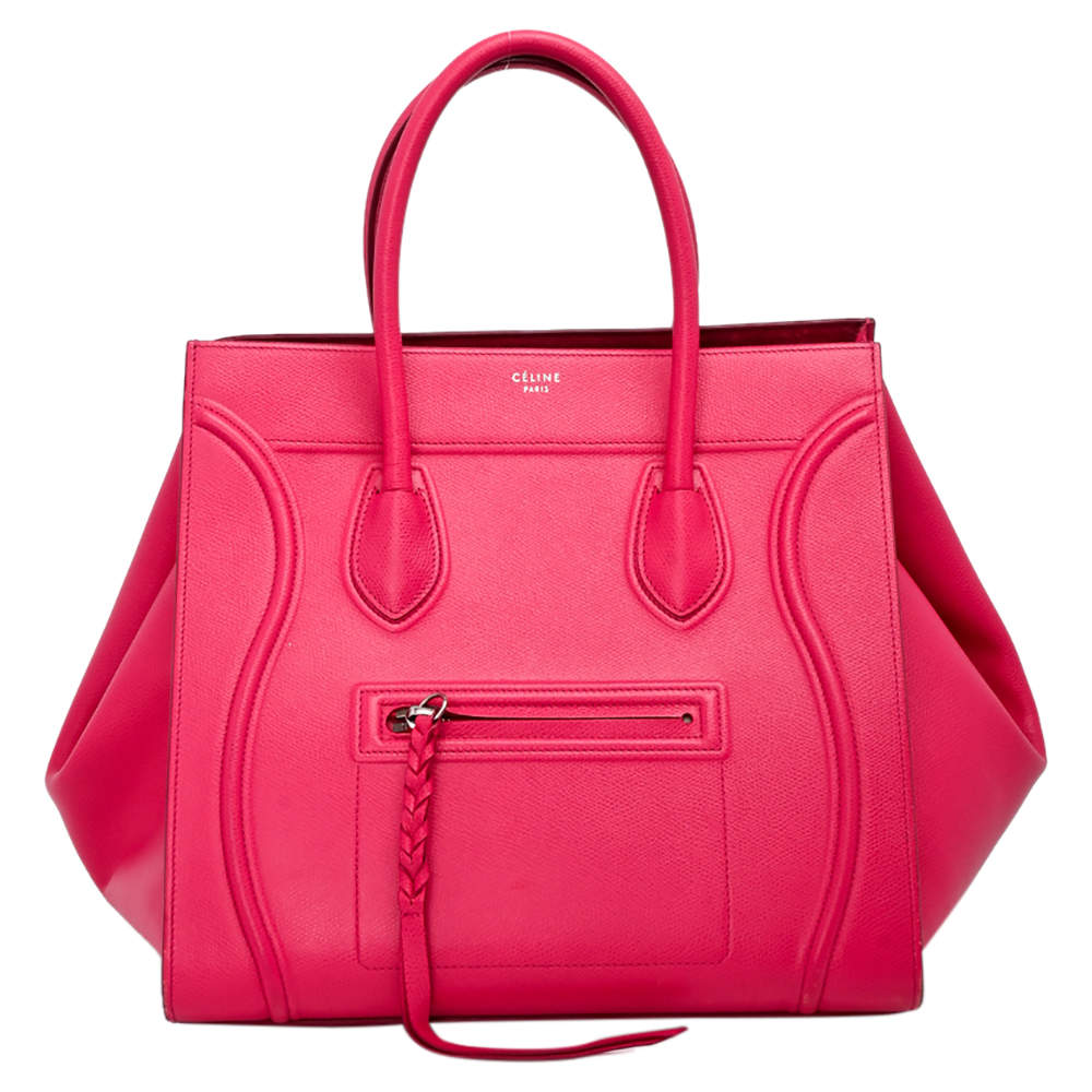 Celine Pink Calfskin Leather Phantom Luggage Tote