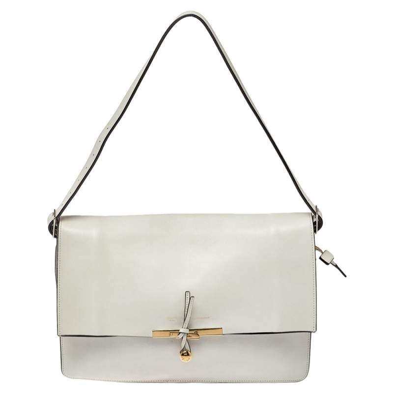 Celine Off White Leather Clasp Flap Shoulder Bag