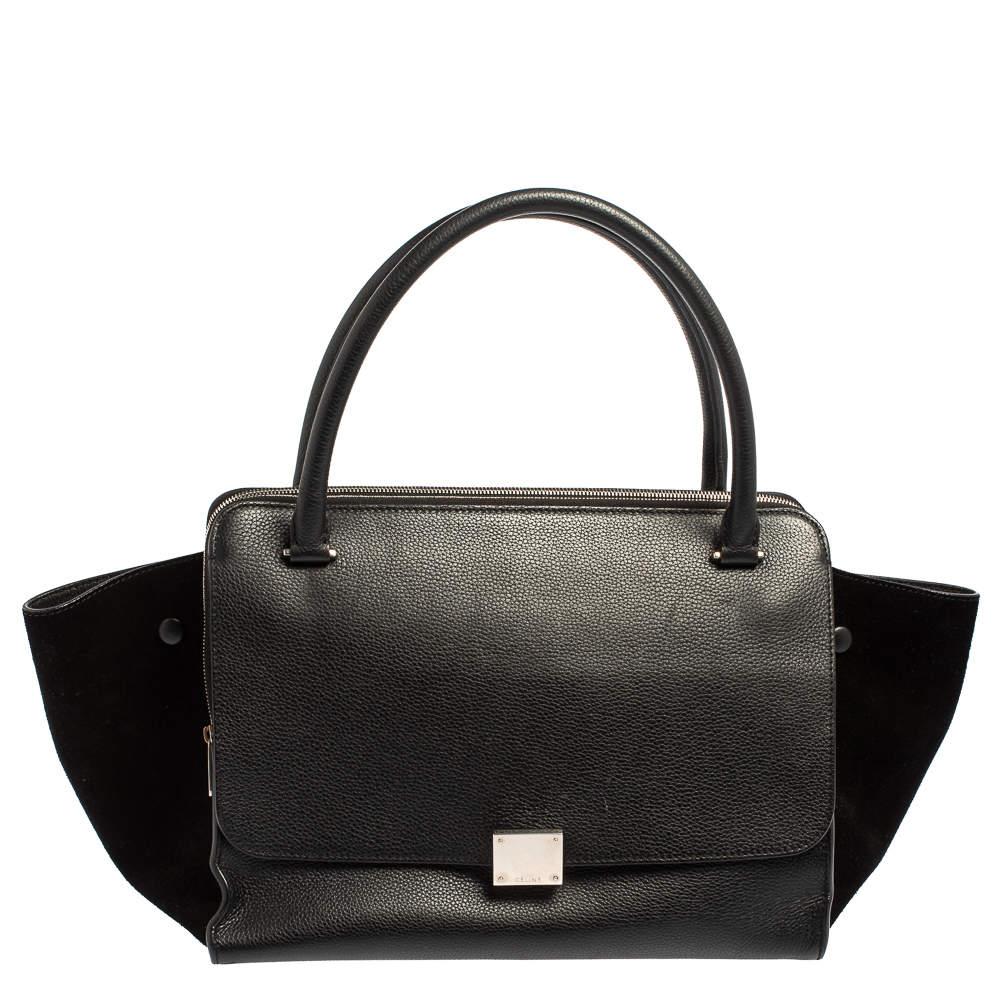 Celine Black Leather and Suede Medium Trapeze Top Handle Bag