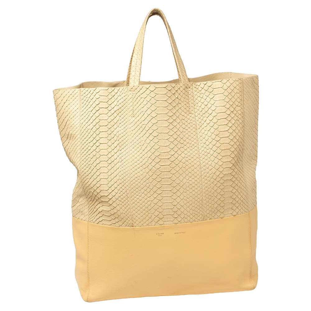 Celine Cream/Yellow Python and Leather Vertical Cabas Tote