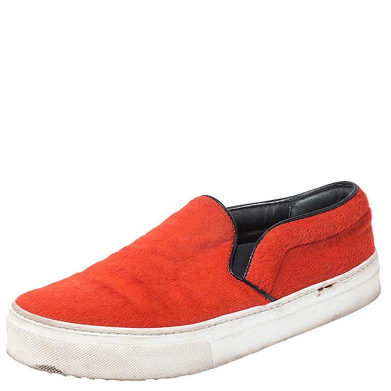 Celine Orange Calfhair Slip On Sneakers Size 38