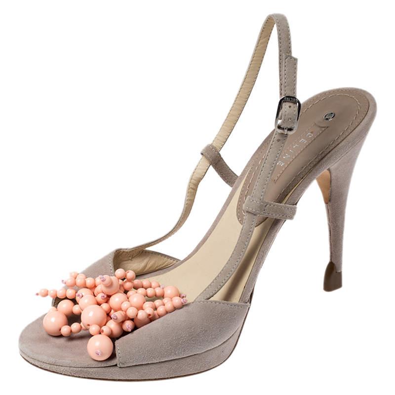 Celine Grey Suede Bead Detail Open Toe Slingback Sandals Size 39.5