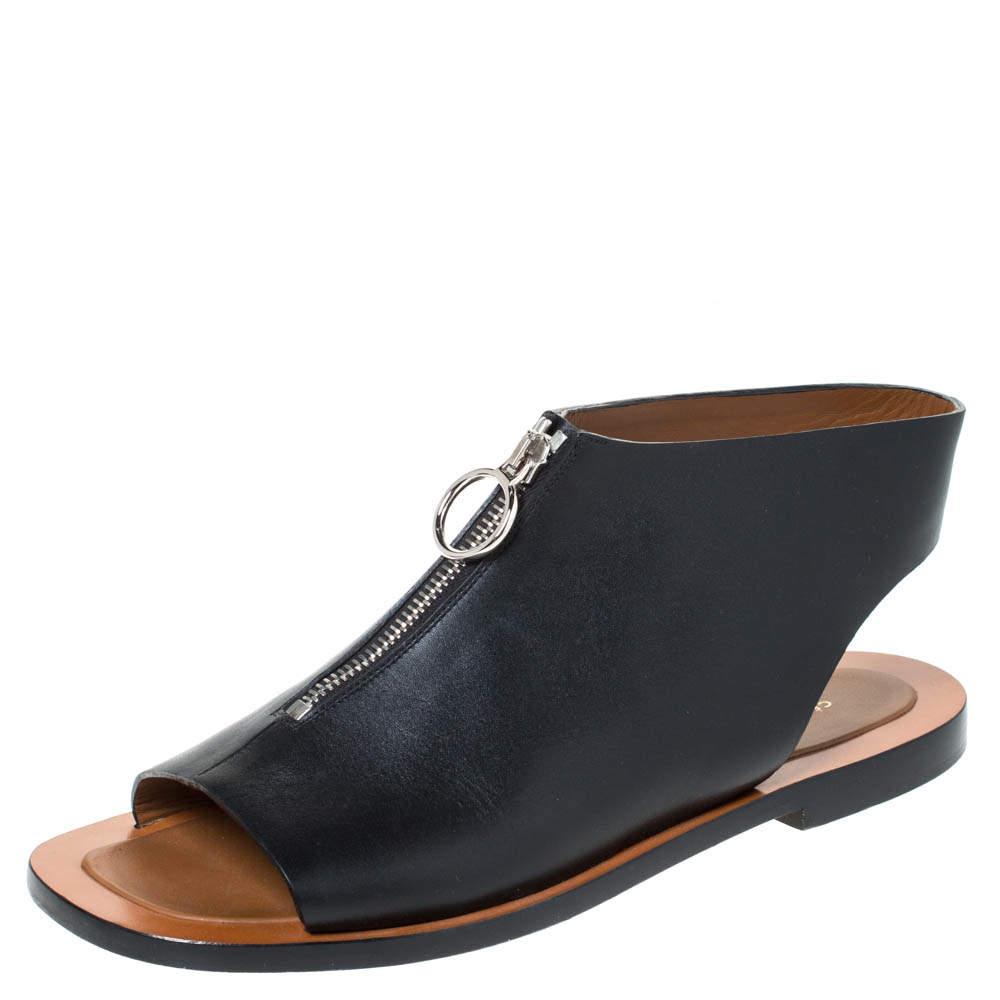 Celine Black Leather Zip Detail Open Toe Flat Sandals Size 40
