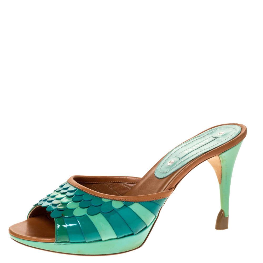 Celine Multicolor Patent and Leather Trim Scalloped Slide Sandals Size 37