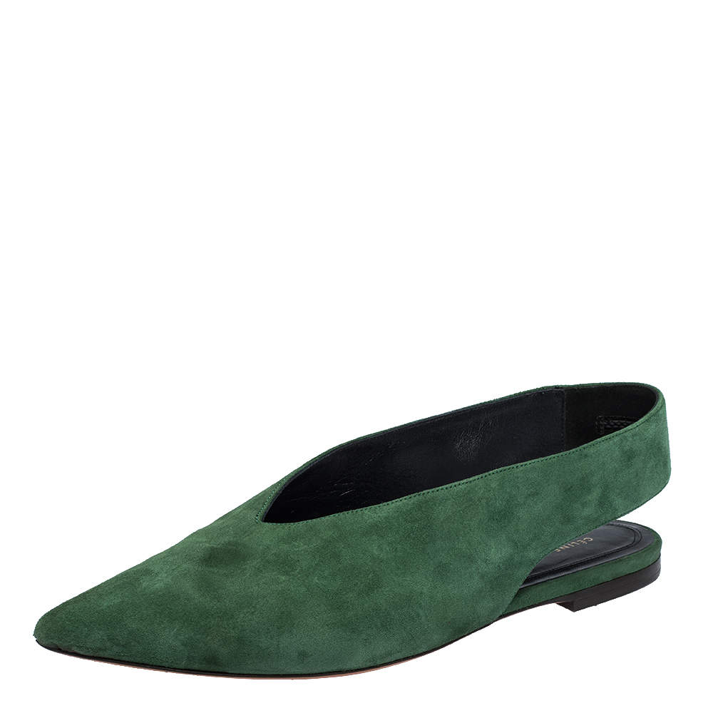 Celine Green Suede V Cut Pointed Toe Flats Size 36