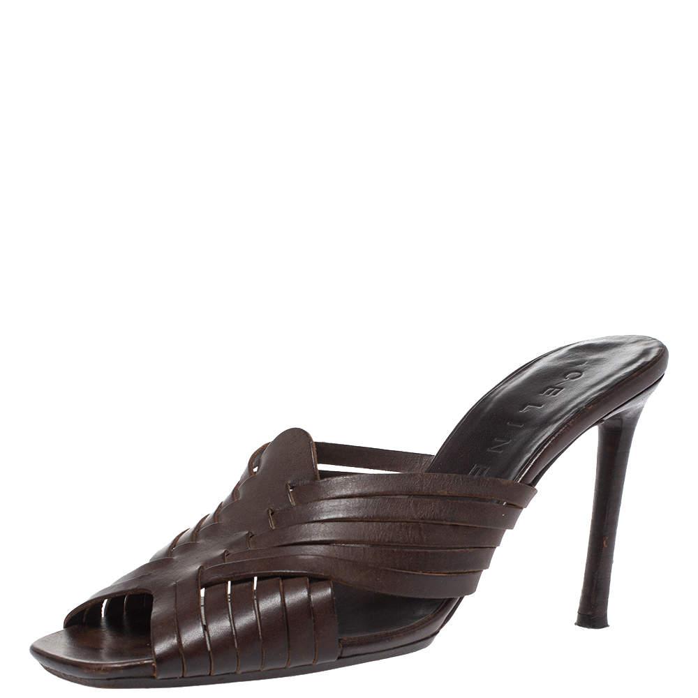 Celine Dark Brown Leather Vintage Strappy Slide Sandals Size 39