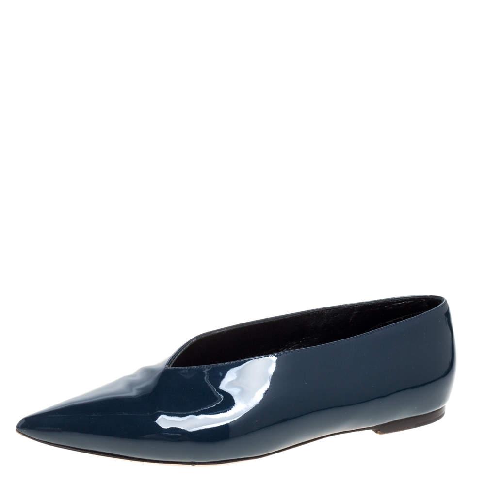 Celine Teal Blue Patent Leather V Neck Ballet Flats Size 37.5