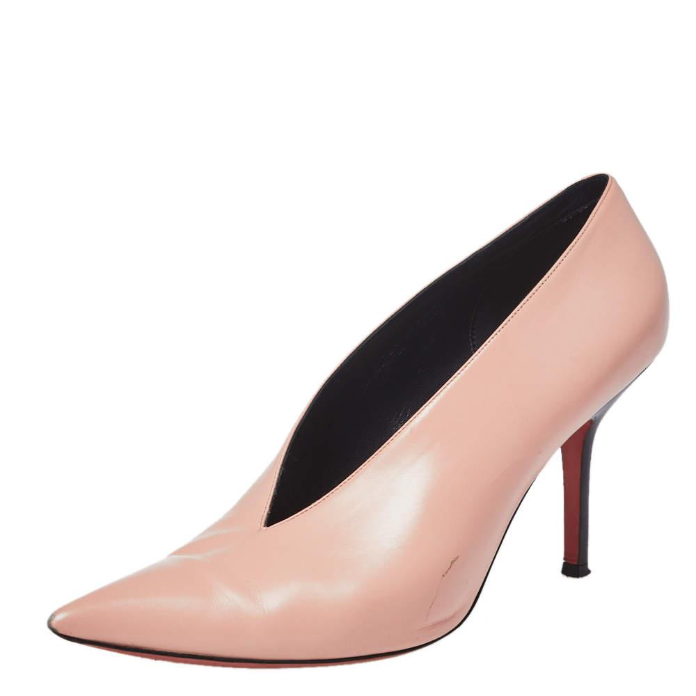 Celine Blush Pink Leather V Neck Pointed Toe Pumps Size 40