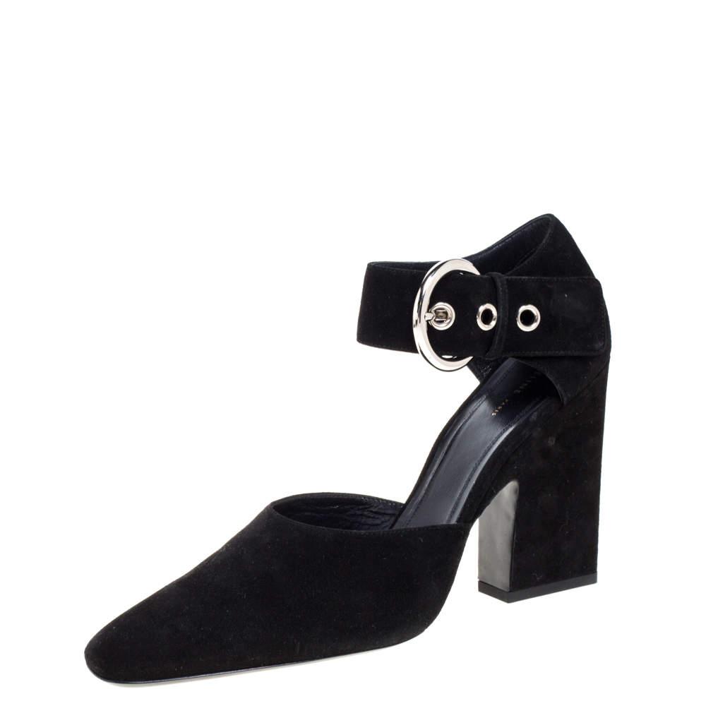 Céline Black Suede Ankle Cuff Square Toe Sandals Size 40