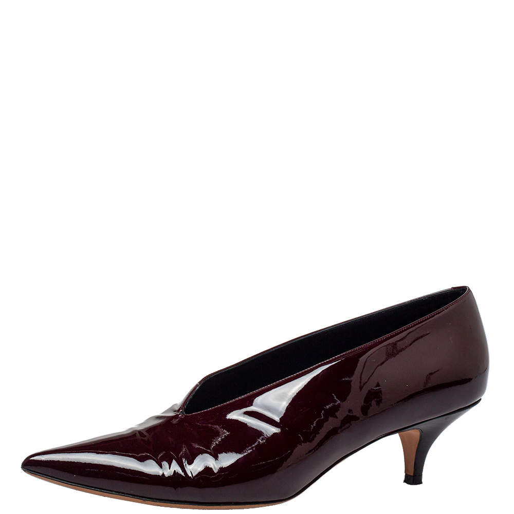 Celine Burgundy Patent Leather V Neck Pointed Toe Pumps Size 40