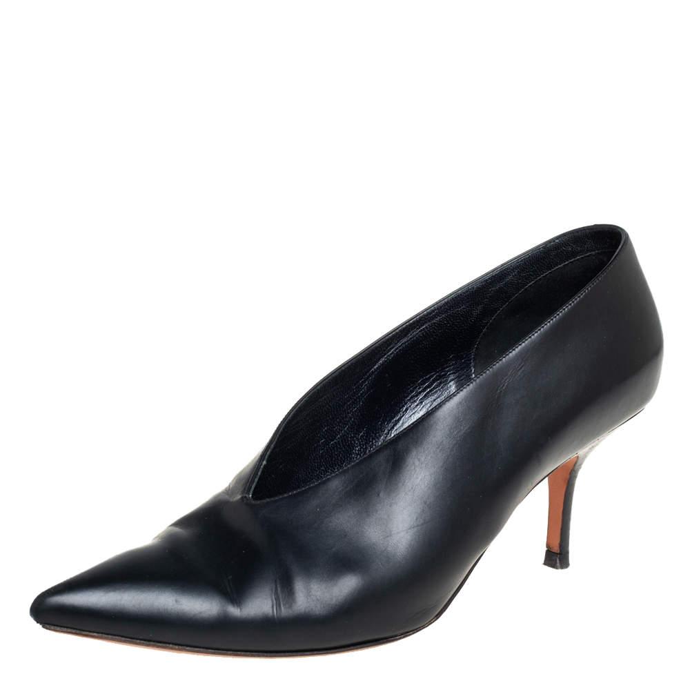 Celine Black Leather V Neck Pointed Toe Pumps Size 40