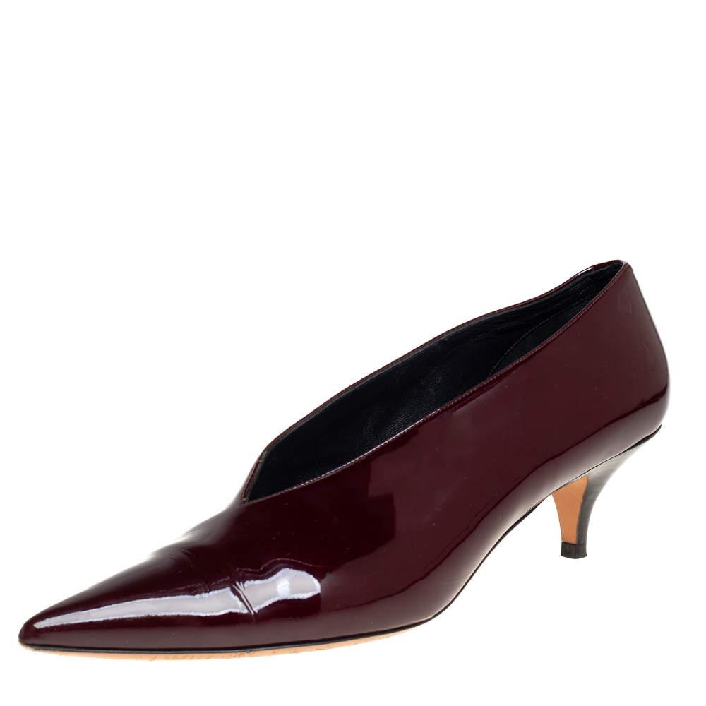 Celine Burgundy Patent Leather V Neck Pointed Toe Pumps Size 41