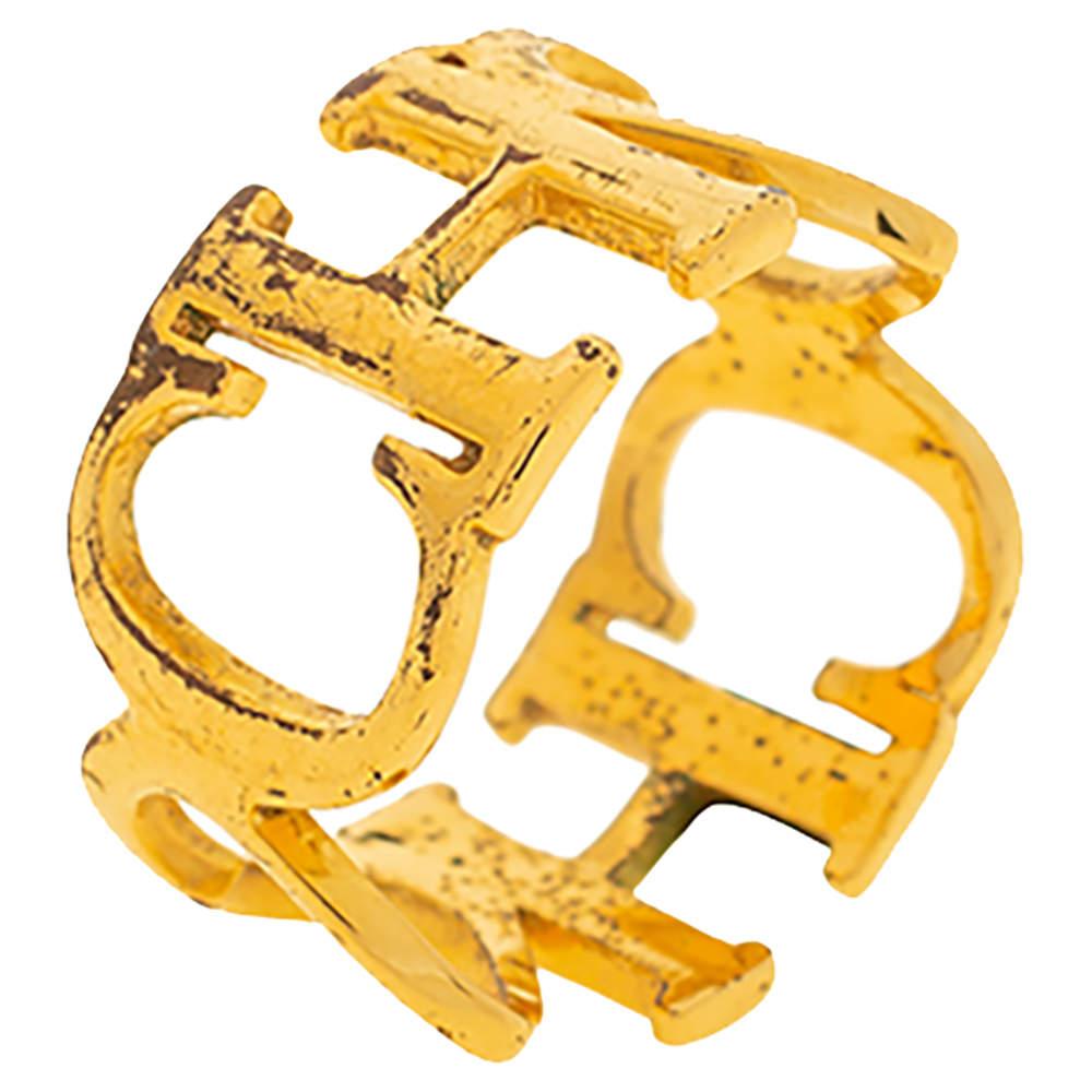 CH Carolina Herrera Logo Heart Gold Tone Band Ring
